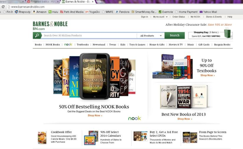 I usually then type in the address bar books.com and it takes me to the Barnes & Noble site.