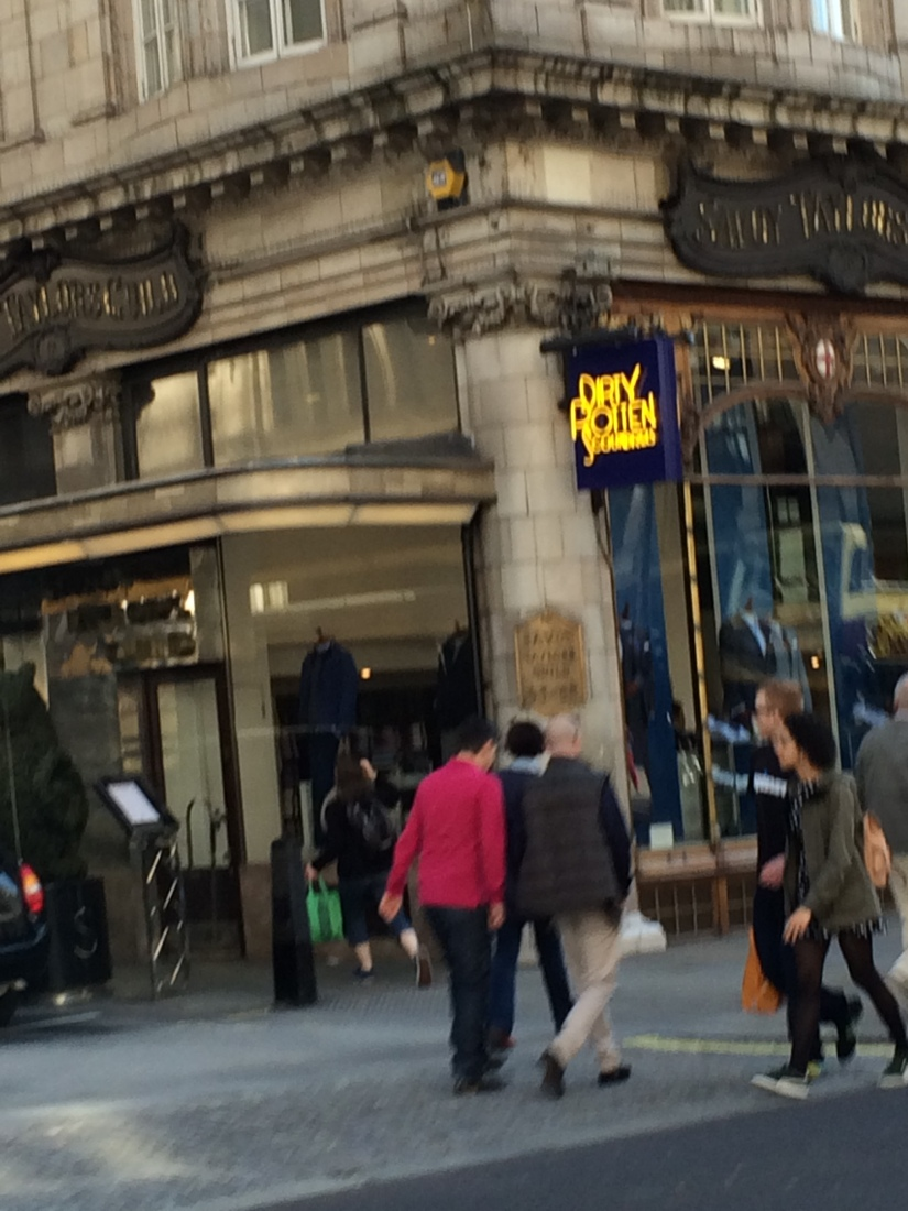 Luckily we drove by this store twice, but it's the best photo I could get - Dirty Rotten Scoundrels suits! Cool, right?!?