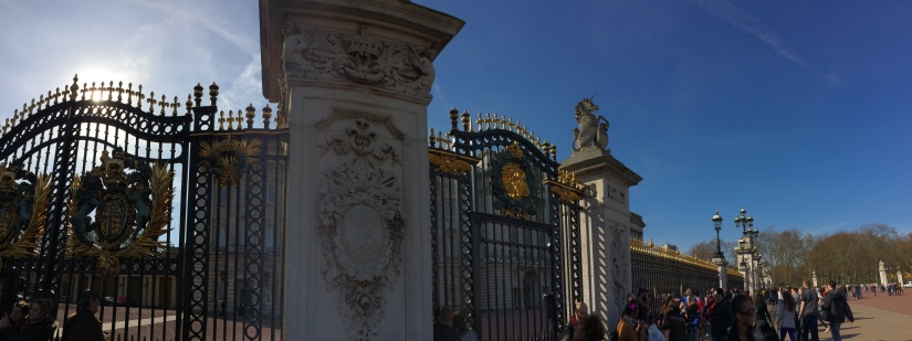 A better view of the gates to the Queen's home and where the changing of the guards takes place.  We missed it by about thirty seconds!