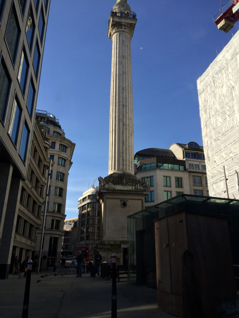 This is a monument where the Great Fire of London started.
