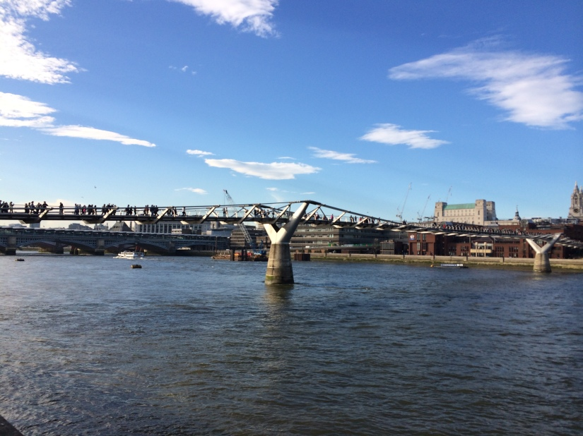 This was a footbridge built to commemorate the millennium, so they called it the Millennium Bridge.  But most Londoners call it the Wobbly Bridge because if everyone walks in unison (like during a parade) the bridge will start to gyrate and wobble back and forth!
