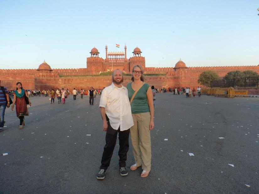 Troy and Patti in front of the Red Fort