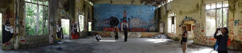 This is what is known as the Beatles Cathedral.  Some fans who wanted to pay homage to the group broke into the abandoned ashram and began painting all over the walls of the gathering hall.  They eventually got kick out for being there too long, but the paintings remain.  It was super cool.